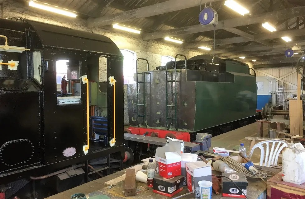 34072's new tender in the Goods Shed at Swanage Station alongside Class 08 08436