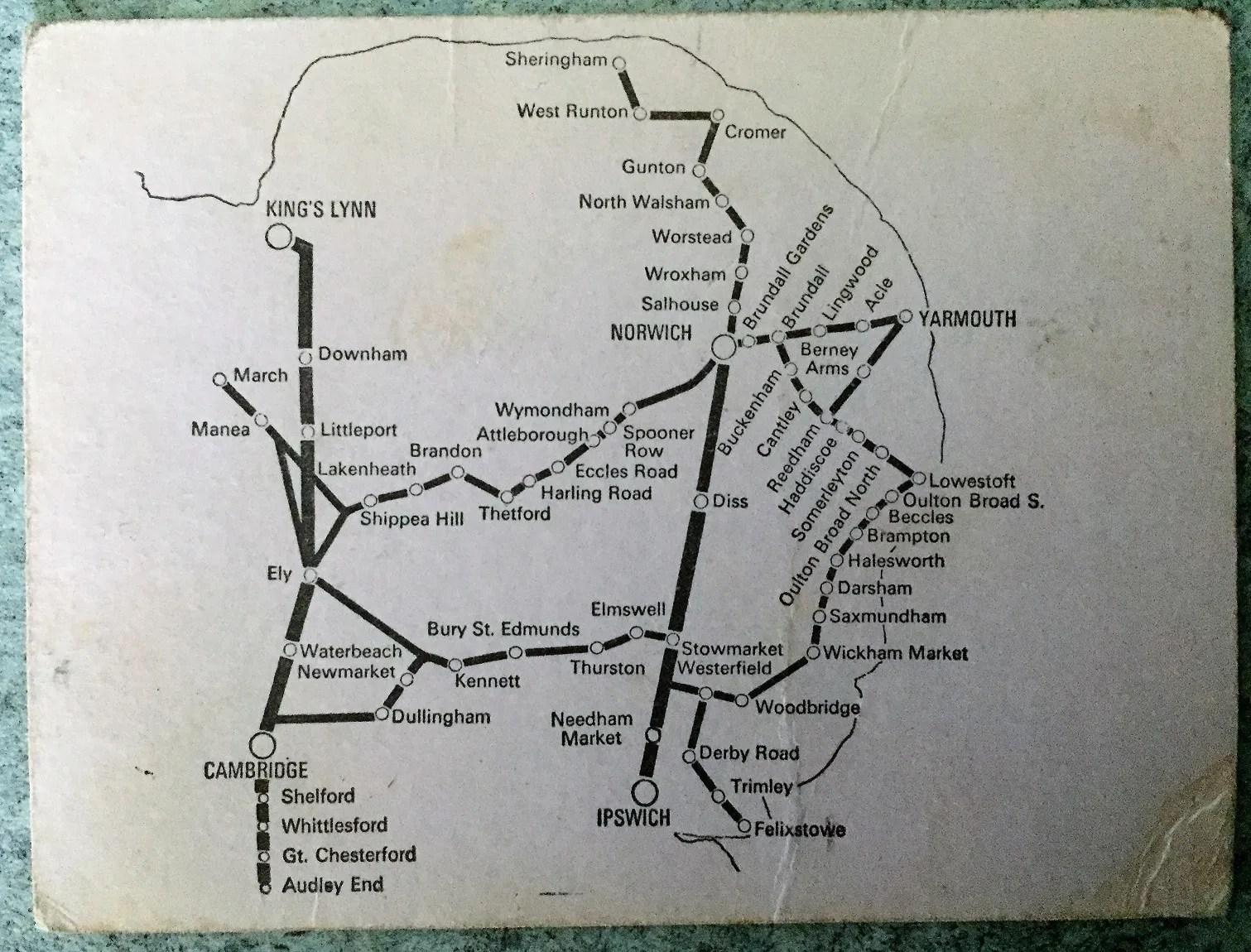 Anglian Ranger ticket showing British Rail Eastern Region map