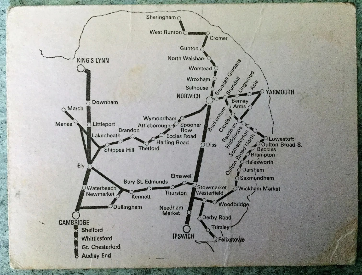 Anglian Ranger ticket showing British Rail Eastern Region map