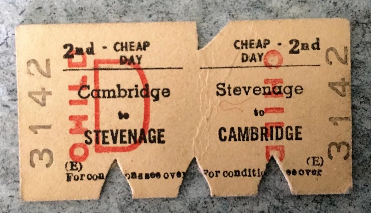 1970s British Railway ticket - Cambridge and Stevenage