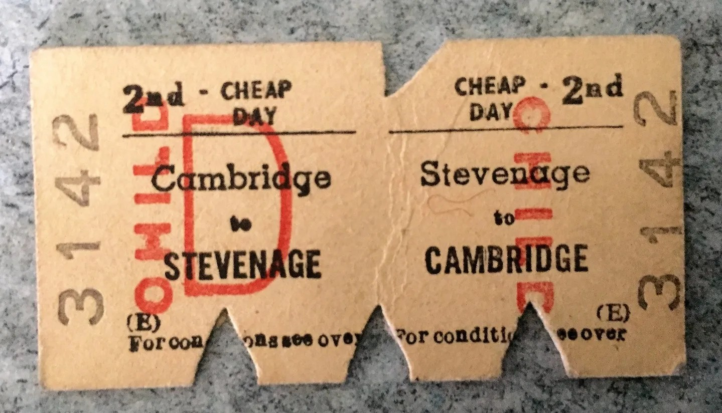 1970s British Railway ticket - Cambridge and Stevenage