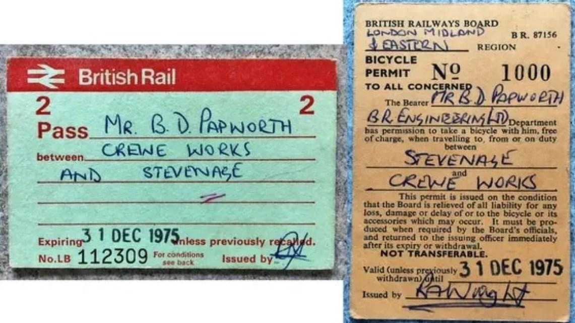 Crewe Works to Stevenage British Railways passes
