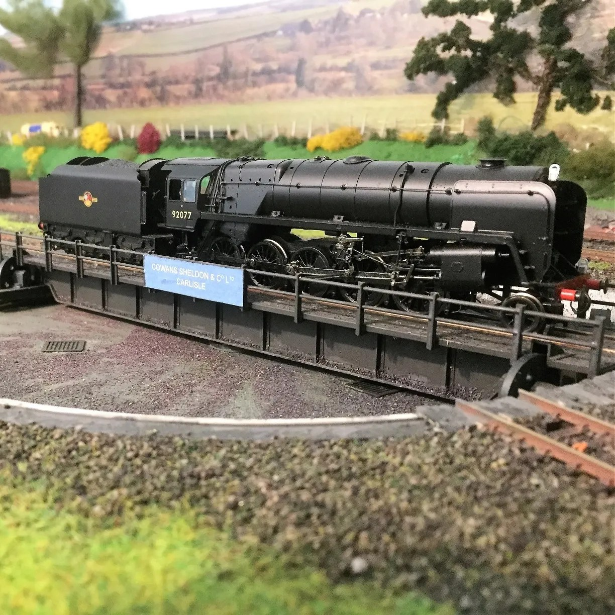 Model railway 00 gauge 9F on the turntable