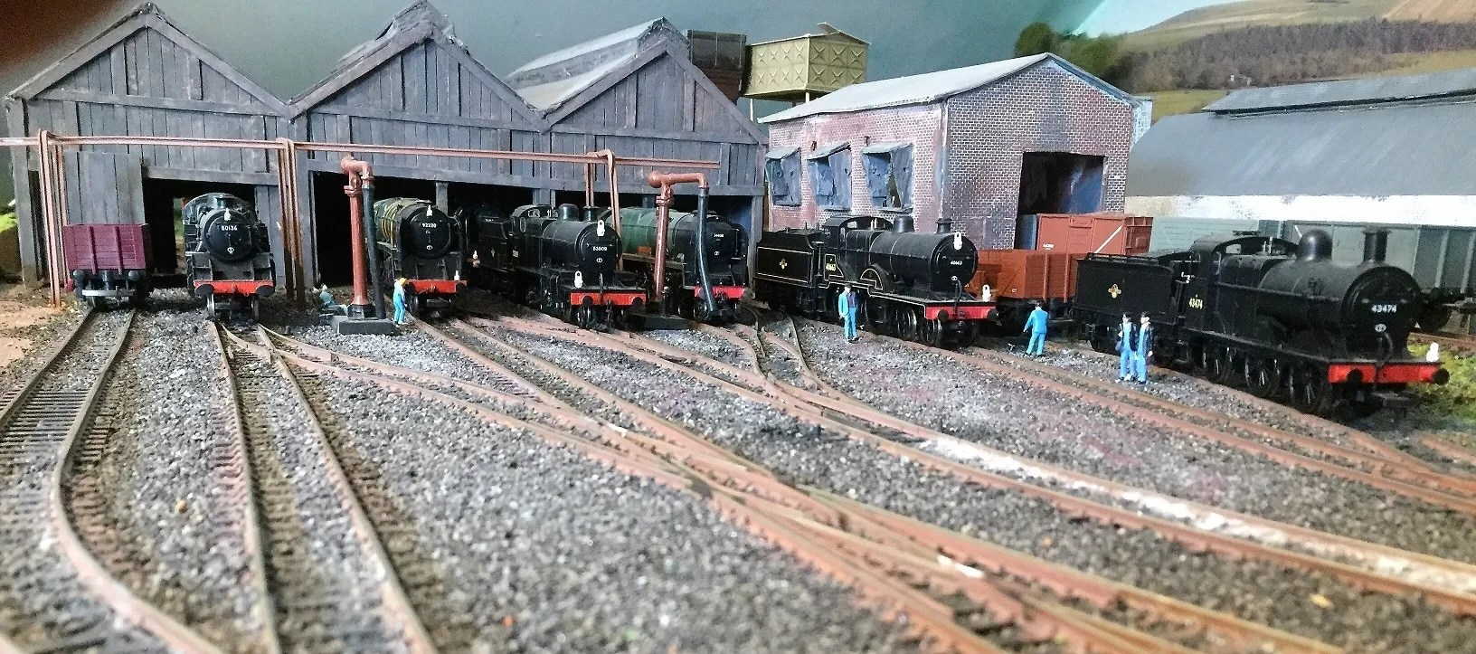 Loco line-up outside model railway shed 00 gauge