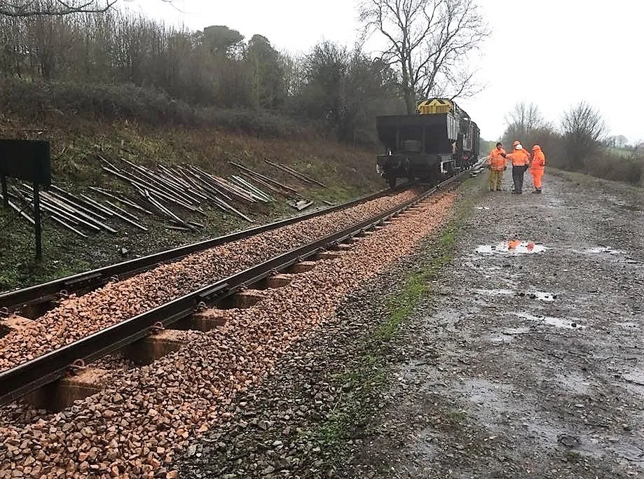 New Ballast used in the relaying somerset and dorset railway