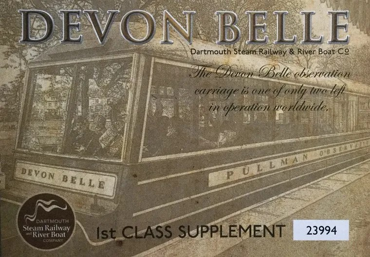 Dartmouth Steam Railway ticket for the Devon Belle