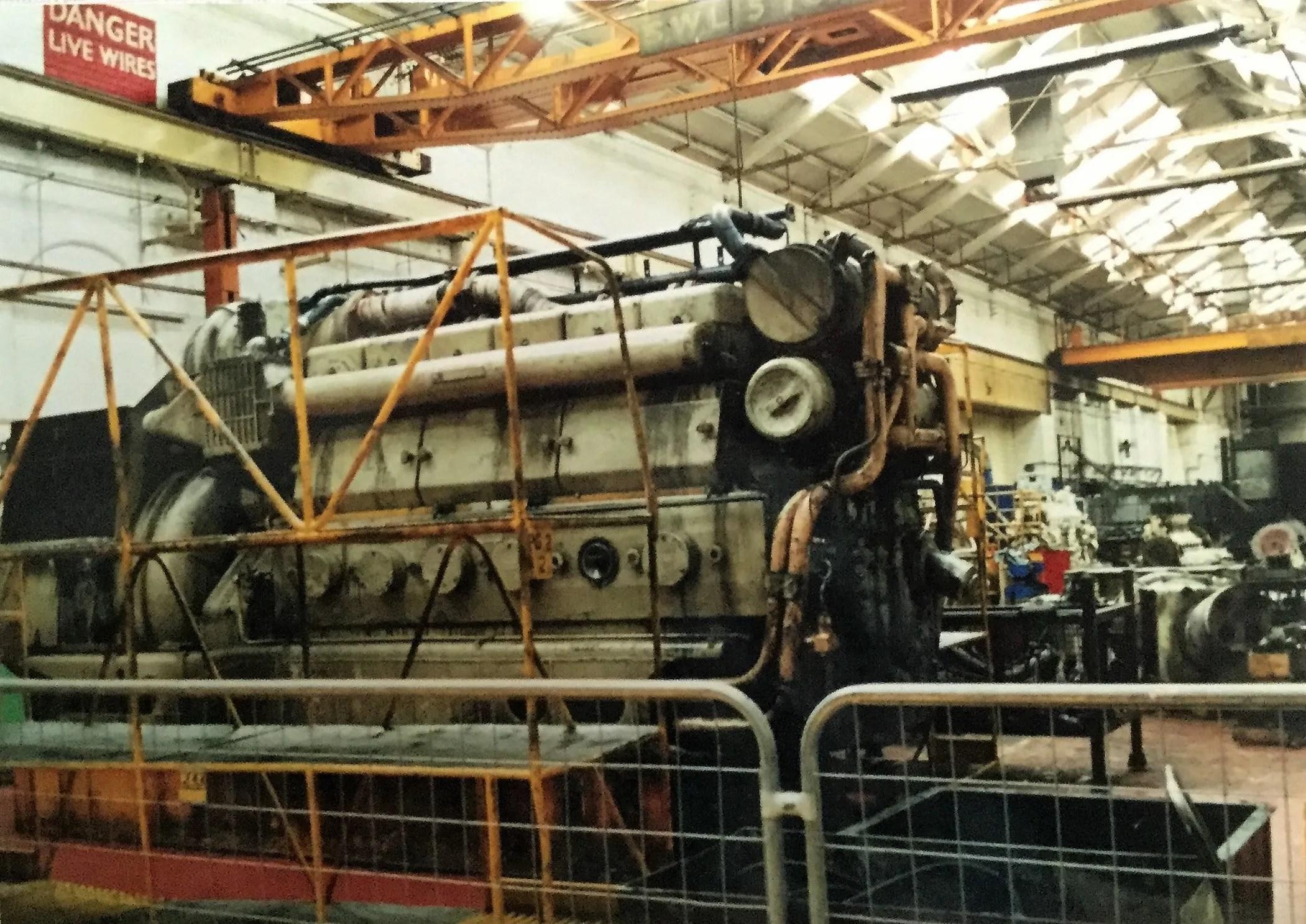 Class 47 Sulzer locomotive engine at Crewe Works