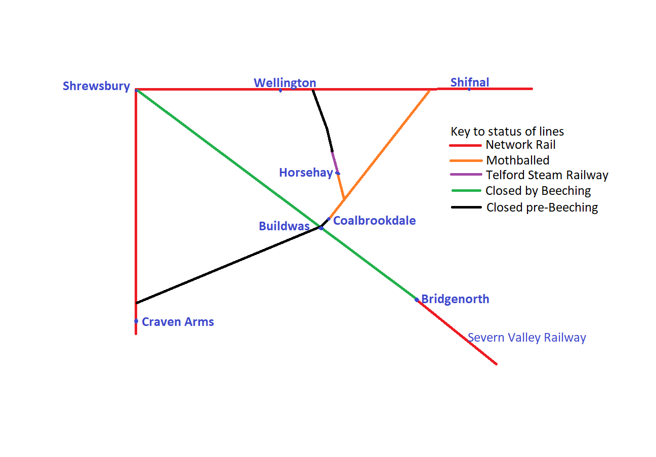 Map of railway lines around the Telford Steam Railway