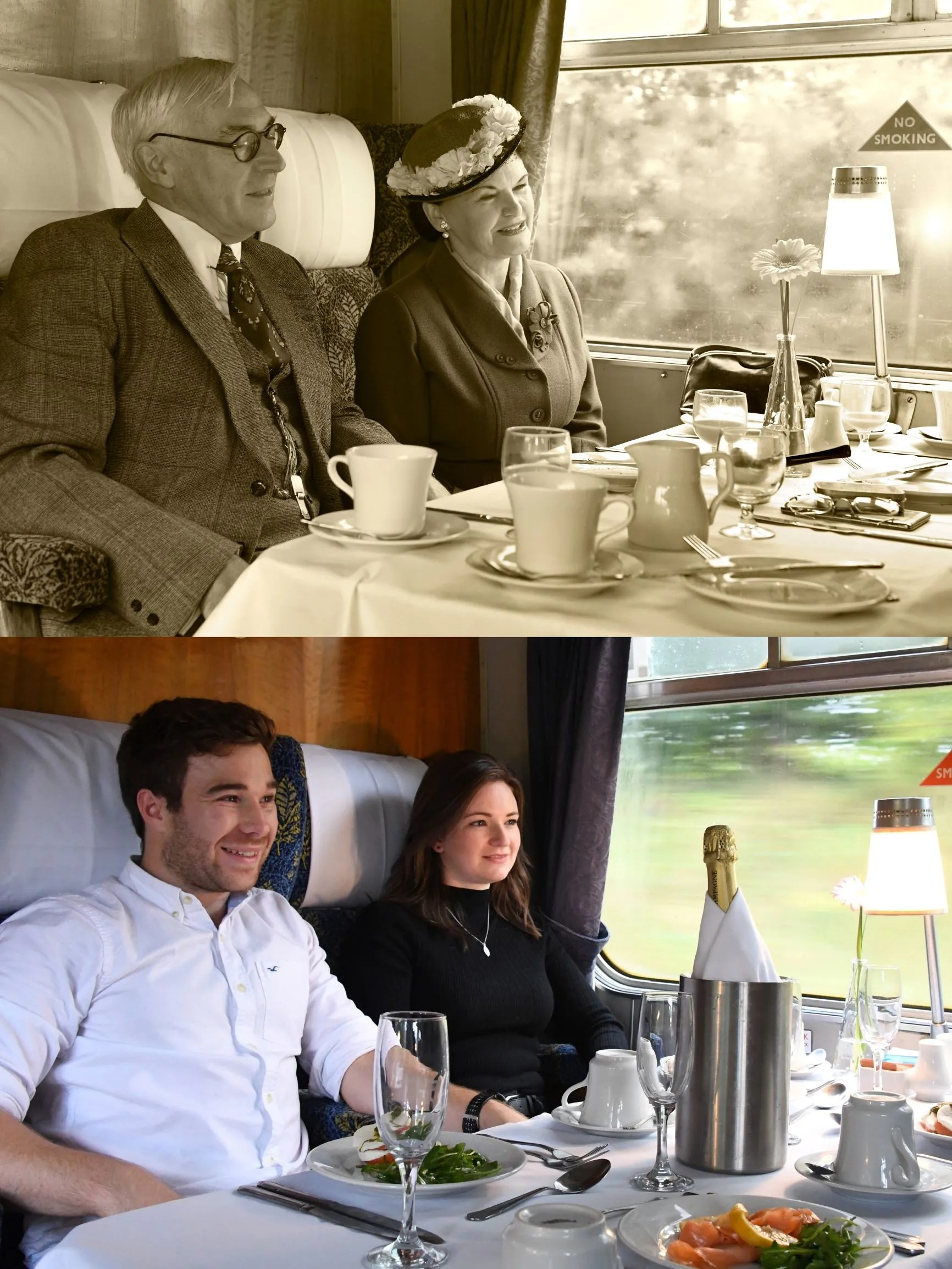 Dinine experience on a heritage train
