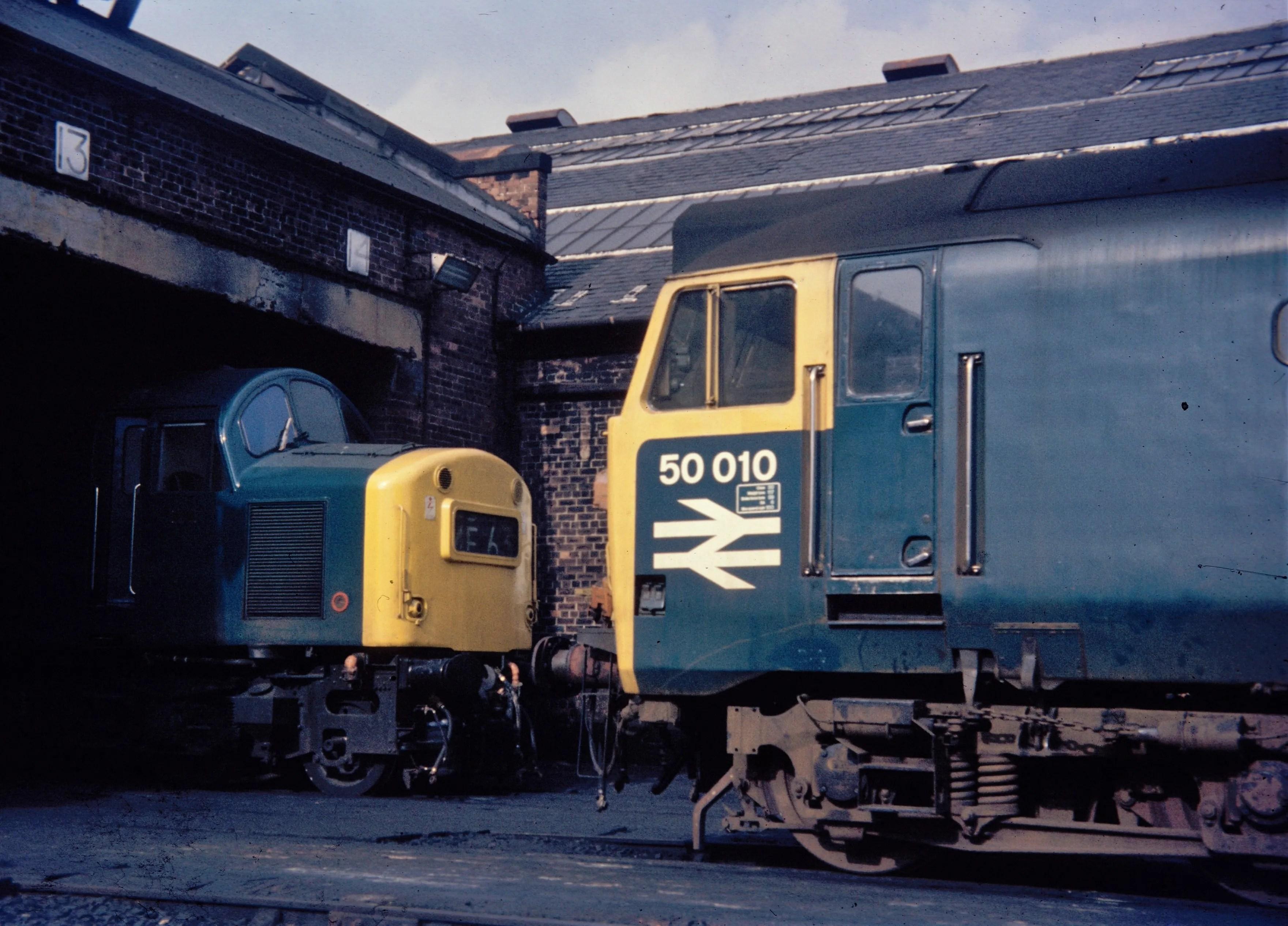 Class 40 meets a Class 50 diesel locomotive at Polmadie Depot
