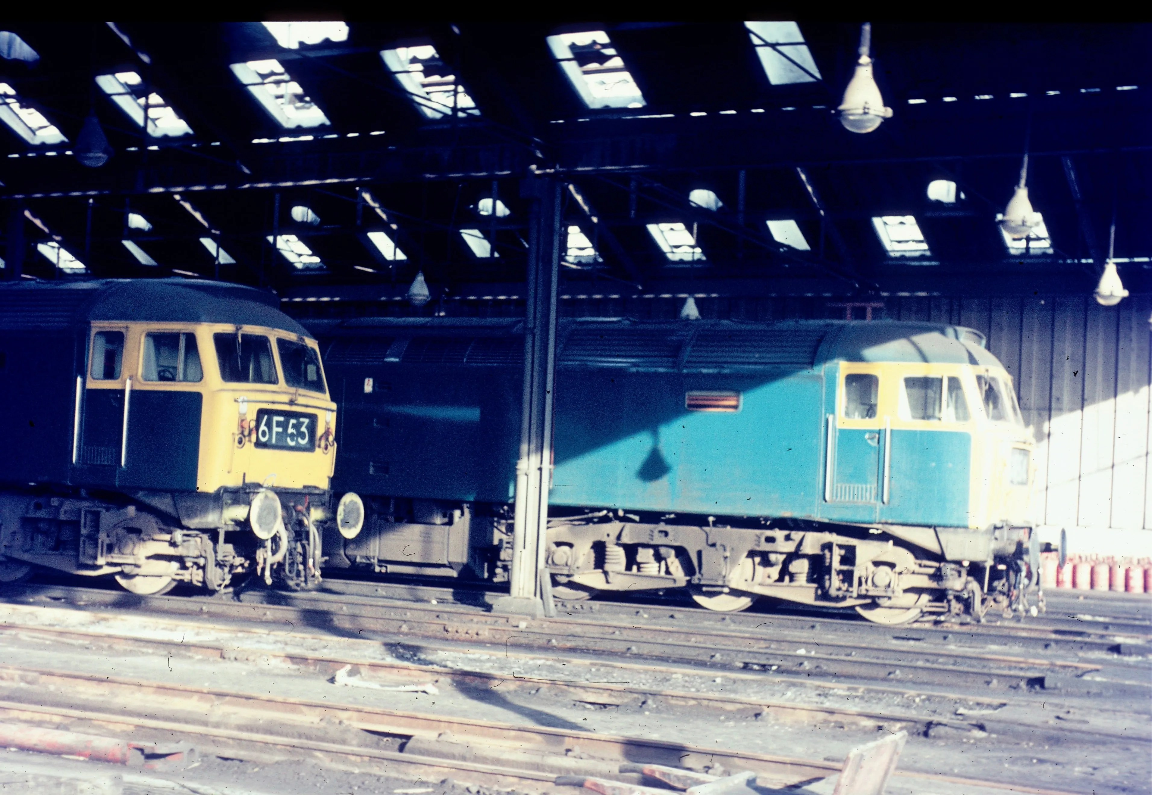 Pair of Class47s diesel locomotives at Polmadie depot