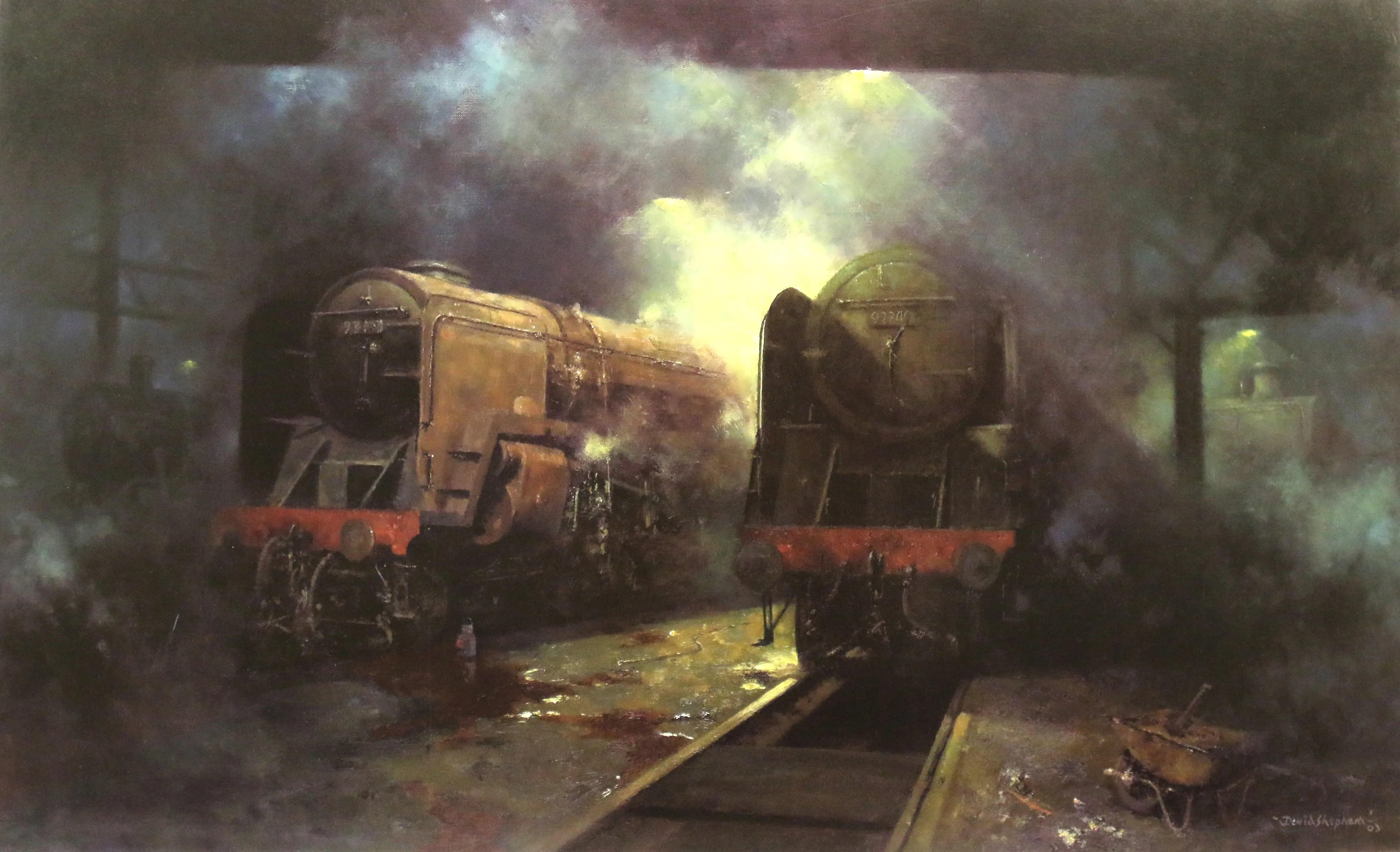 David Shepherd painting of steam locomotives - Giants at Rest