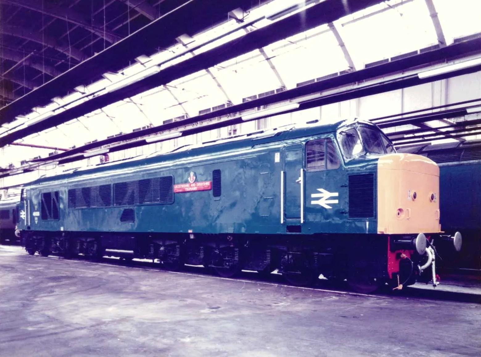 Peak Class 46 diesel locomotive 46026 at Gateshead depot