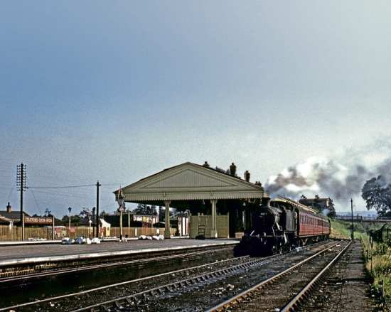 GWR Prairie No. 4172 sits in platform 4 at Stratford-upon-Avon on June 15, 1957. Today, the line has buffer stops in the vicinity of the loco at the far end of the train. COLOUR RAIL