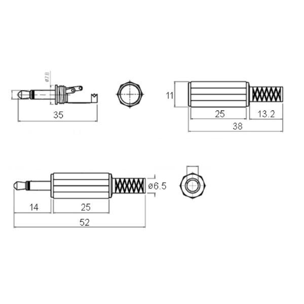 Miniature 3.5mm Jack Plug Mono, Railwayscenics