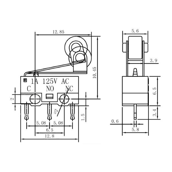 Sub Miniature SPDT Roller 13mm microswitch, Railwayscenics