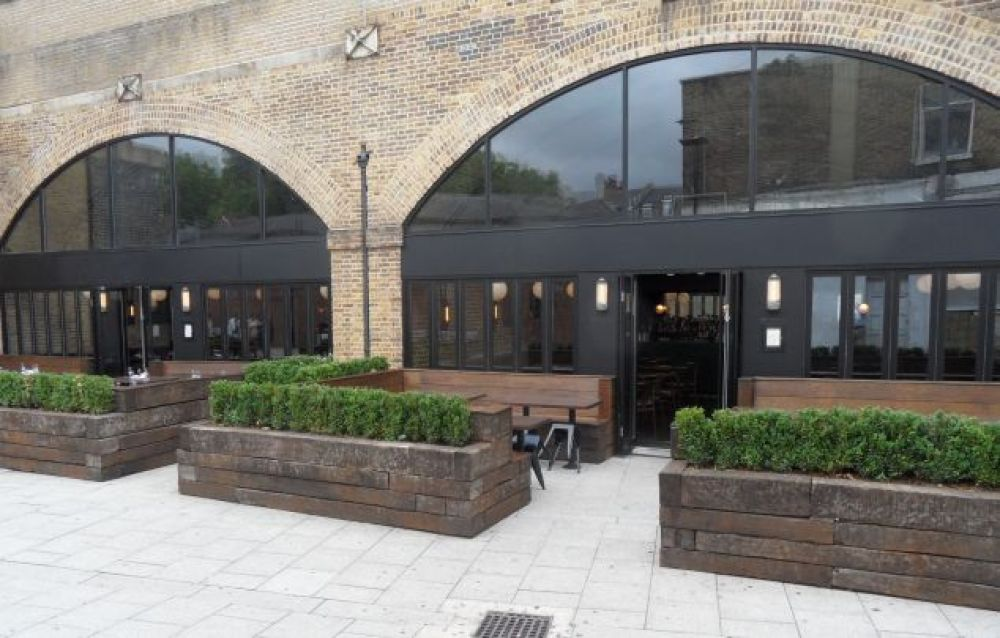 Beagle London Restaurant railway sleepers planters
