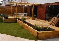 New Oxford railway sleeper patio & raised beds