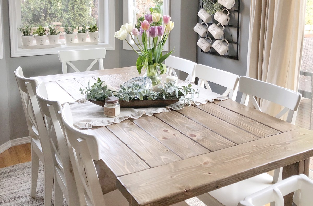 Diy Farmhouse Table Using Ana White Plans Amp A Custom