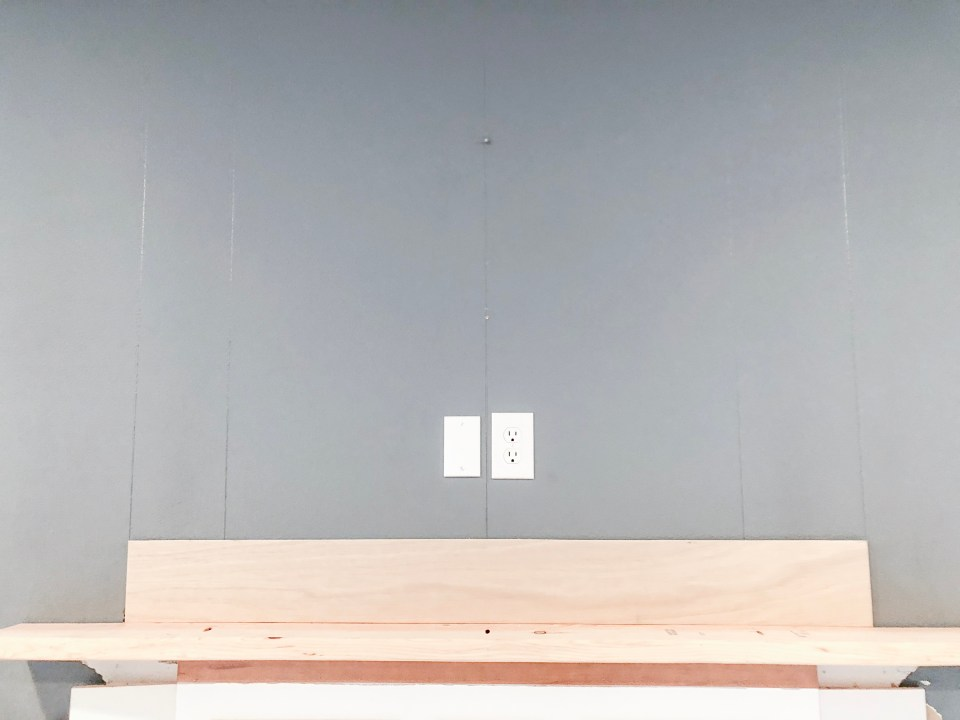 DIY Shiplap and Stained Wood Beam Farmhouse Style Fireplace