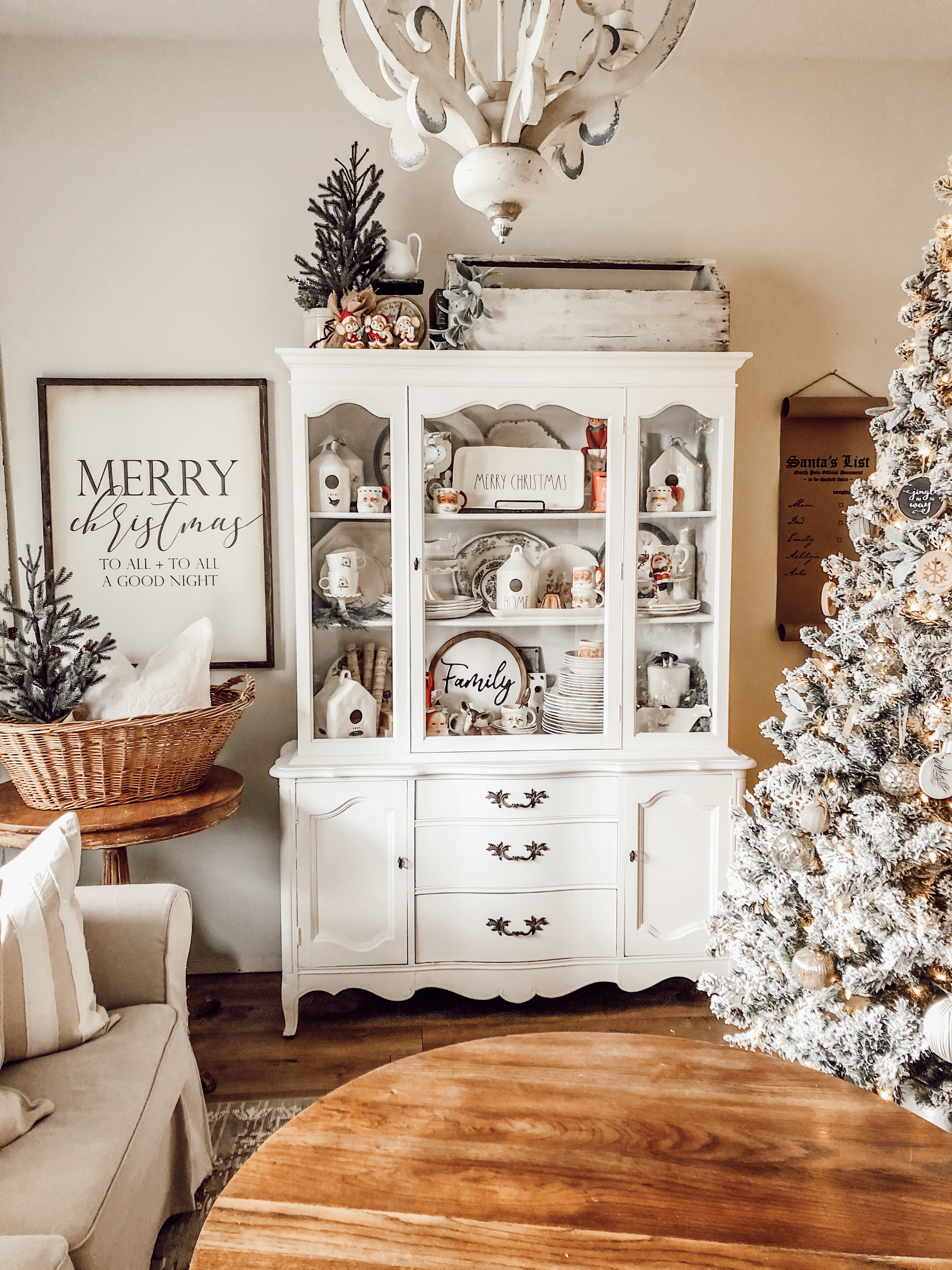 Styling A Farmhouse Hutch With Vintage Christmas Decor