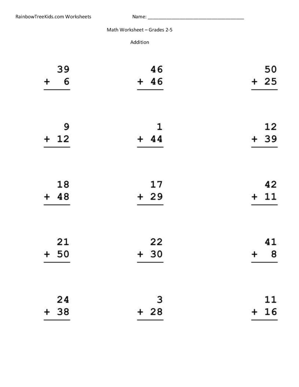 medium resolution of Grade 2 Math Worksheets Addition   Printable Worksheets and Activities for  Teachers