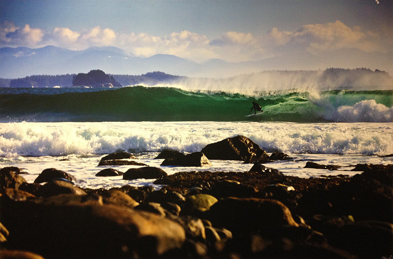 A surfer catches a wave off a rocky shoreline in the Great Bear Rainforest