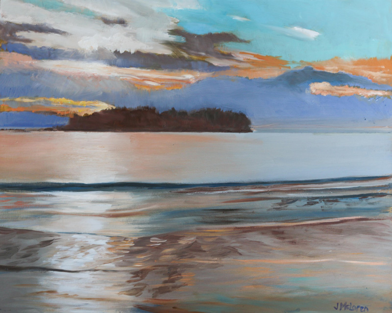 This painting depicts an island in distance with a sunset and serene waters