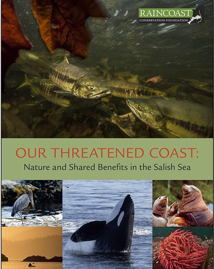 """Cover image of Raincoast Conservation Report with images of orcas and ocean with a kayaker in it, seals, a heron and salmon, with the title """"Our Threatened Coast"""""""