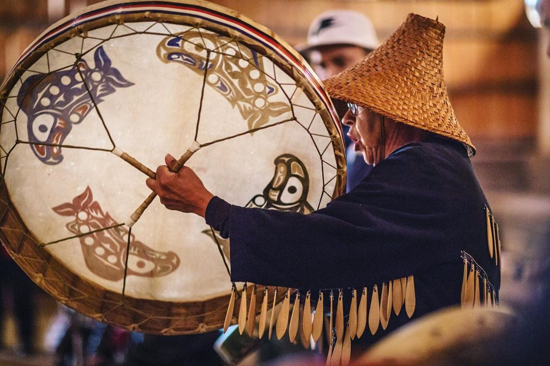 Elder from Sto:Lo Nation with a big drum