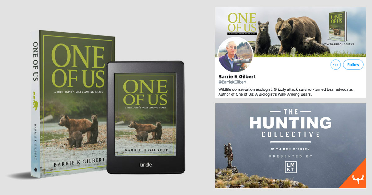 Barrie K. Gilbert's book One of Us juxtaposed with the logo from a hunting podcast.