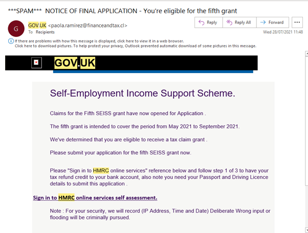 scam ISS grant email