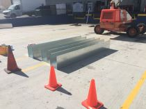 custom box gutter galvanized steel 16 gauge 12 x 12 x 12 over loading dock of Architect Glacier downtown Los Angeles 90017(7)