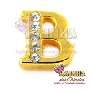 Letra Dourada Com Strass Cristal B