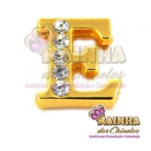 Letra Dourada Com Strass Cristal E