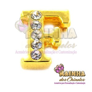 Letra Dourada Com Strass Cristal F