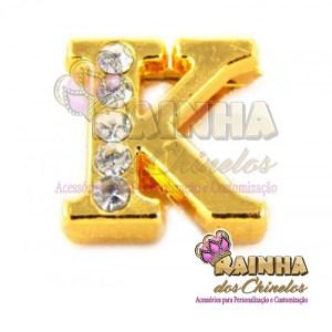 Letra Dourada Com Strass Cristal K