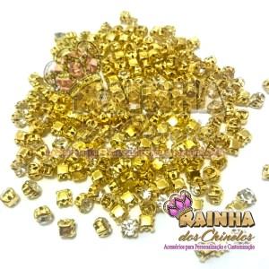 Strass de Costura Dourado SS16 Cristal