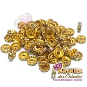 Entremeio Dourado Rondela Reta com Strass Cristal 10mm