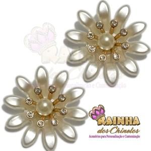 Flor ABS Creme Strass cristal