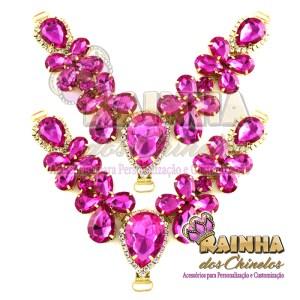 Cabedal em V Pedras Rosa Pink