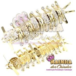 Piercing Centopeia Dourada Strass Cristal