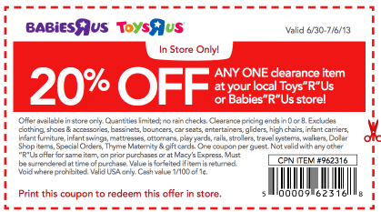 Toys R Us Coupon 20 Off Clearance Item