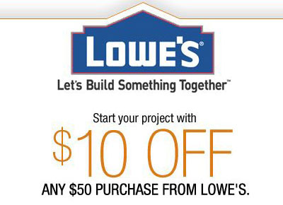 Lowes 10 off a 50 Purchase Coupon