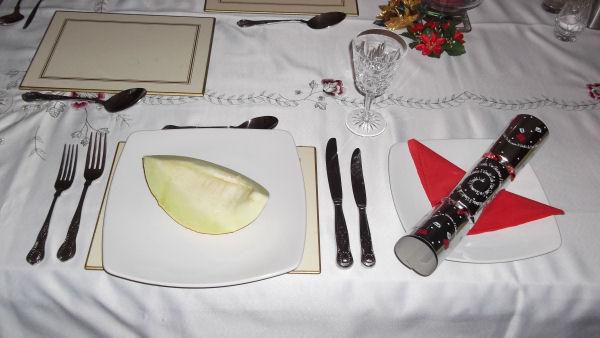 Melon on table