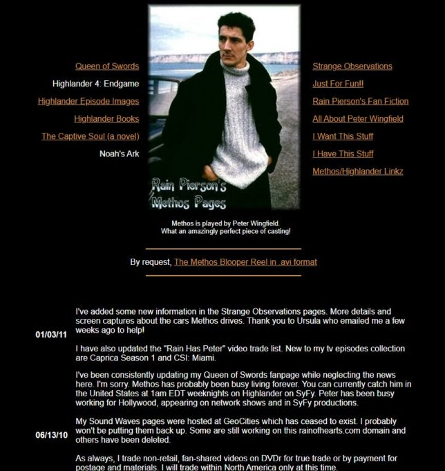 My Methos Pages Highlander fan site BEFORE the redesign. built in 2000.