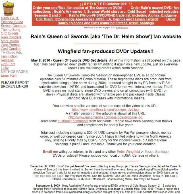 My Queen of Swords fan site BEFORE the redesign. Built in 2000.