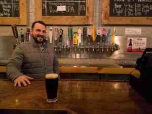 Beers on tap at the Shipyard Brewery tasting room