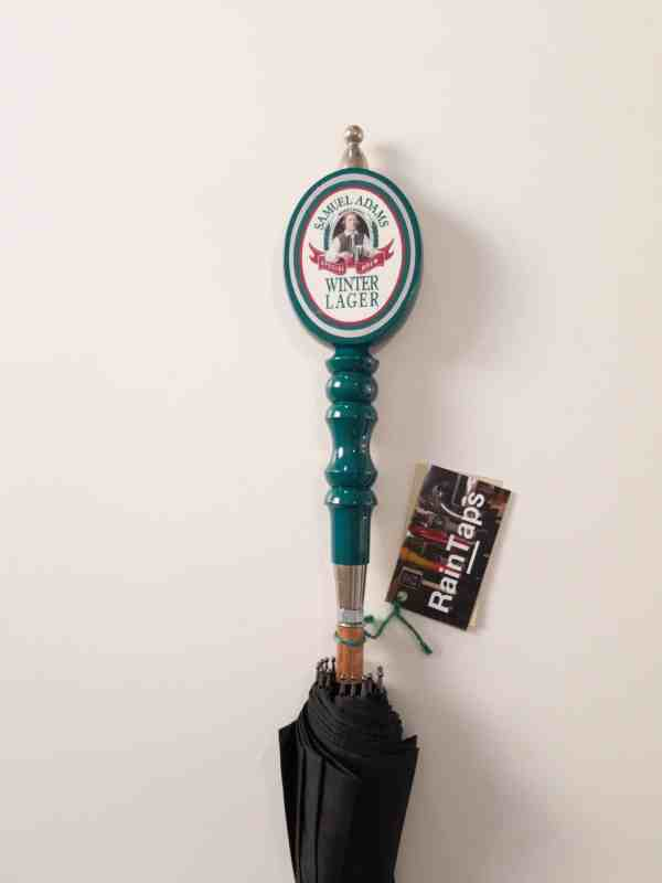 Custom umbrella made from a vintage Sam Adams Winter Lager tap handle