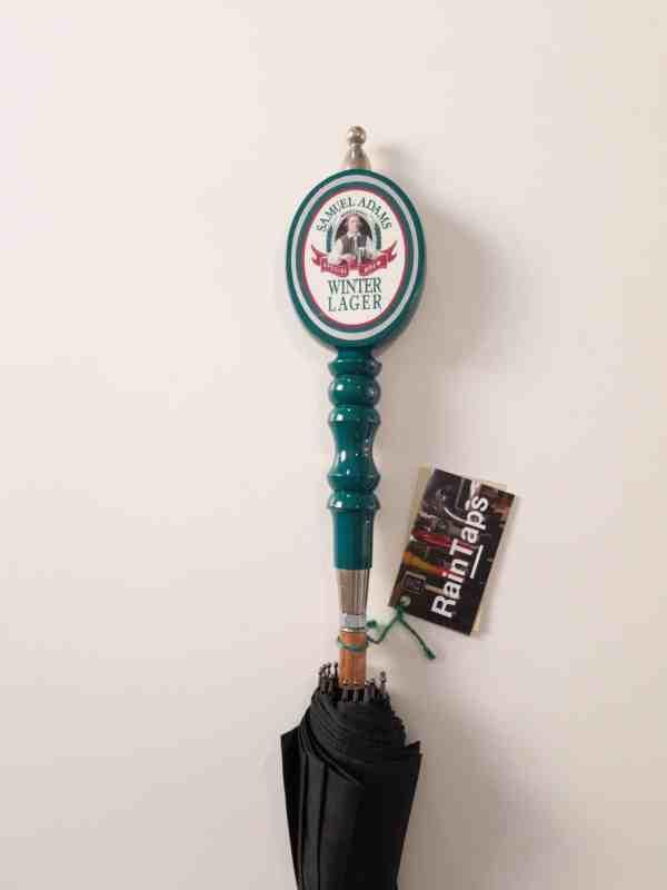 Custom umbrella made from a vintage Sam Adams Winter Lager tap handle